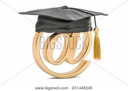 E-mail sign with graduation hat 3D rendering