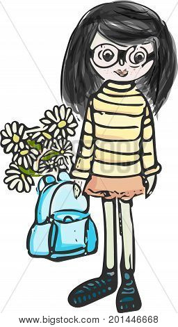 the first of September.the first of September. the girl goes to school for the first of sentebre