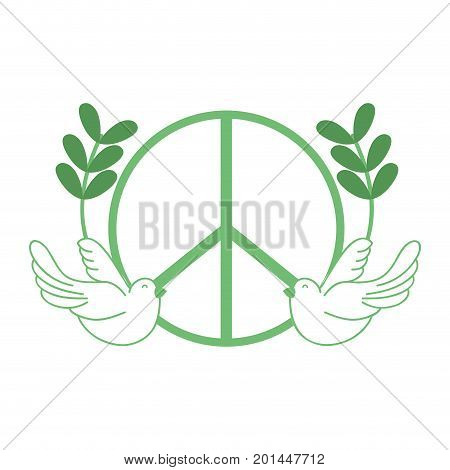 silhouette hippie emblem with doves and branches design vector illustration