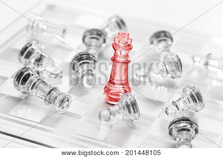 Chess business success leadership concept. Red pawn.