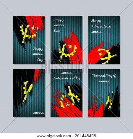 Angola Patriotic Cards For National Day. Expressive Brush Stroke In National Flag Colors On Dark Str
