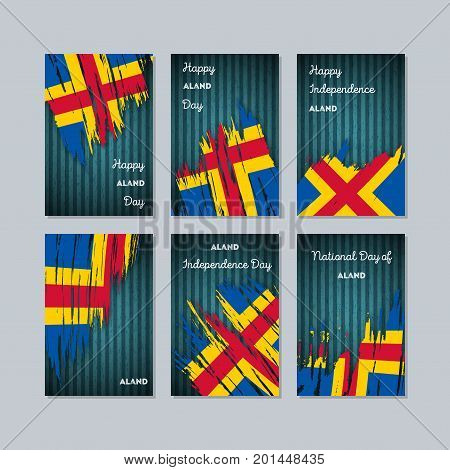 Aland Patriotic Cards For National Day. Expressive Brush Stroke In National Flag Colors On Dark Stri