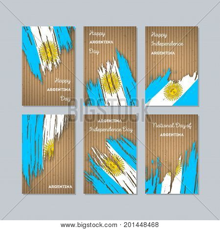 Argentina Patriotic Cards For National Day. Expressive Brush Stroke In National Flag Colors On Kraft