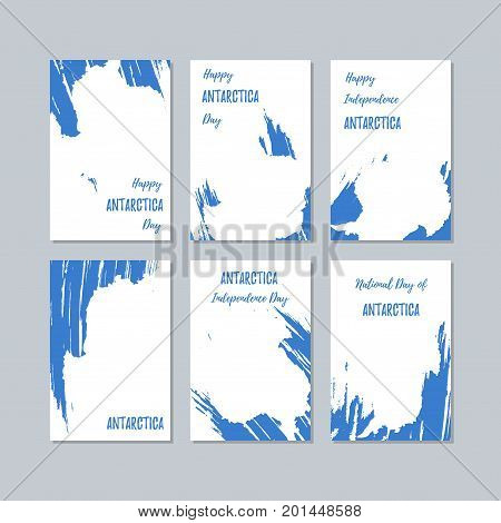Antarctica Patriotic Cards For National Day. Expressive Brush Stroke In National Flag Colors On Whit