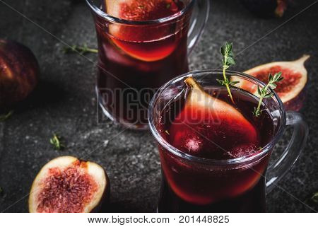 Cocktail With Red Wine, Thyme And Figs