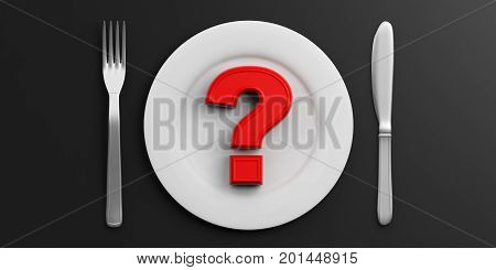 Place Setting And Red Question Mark On Black Background. 3D Illustration