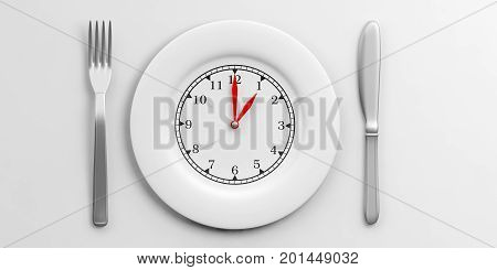 Lunch Time Concept On White Background. 3D Illustration