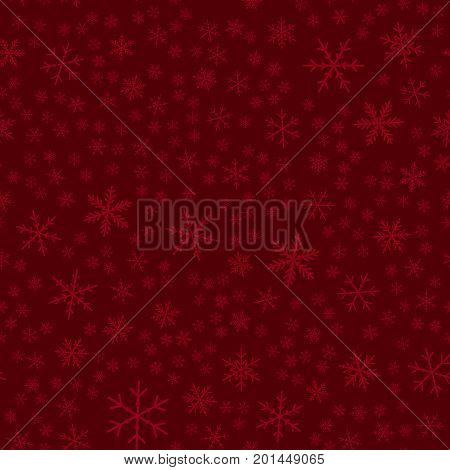Transparent Snowflakes Seamless Pattern On Wine Red Christmas Background. Chaotic Scattered Transpar