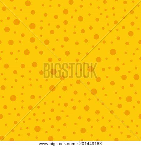 Orange Polka Dots Seamless Pattern On Yellow Background. Mind-blowing Classic Orange Polka Dots Text