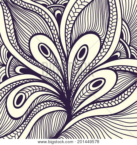 Abstract handmade Zen-doodle Zen-tangle background black on white for coloring page or relax coloring book or for decoration different things