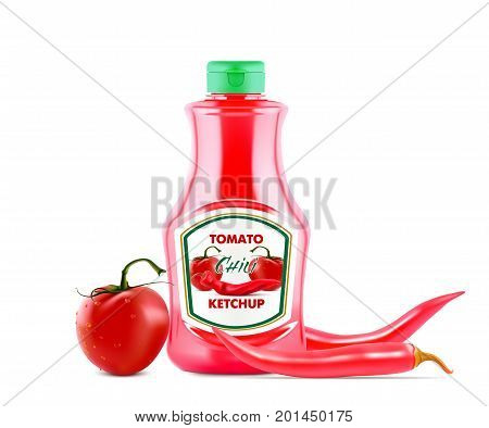 Ketchup bottle with fresh tomatoes and red hot chili pepers on the lable isolated on white background, realistic vector illustration.