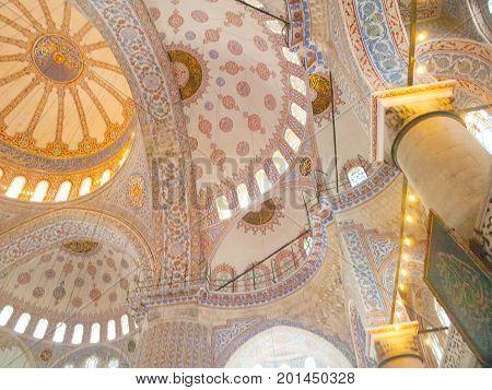 Sultanahmet cami (Blue Mosque) interior, Istanbul, Turkey