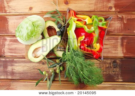 raw vegetables on wooden table prepared for use