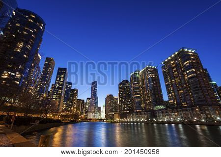 Chicago architecture along the river. Chicago Illinois USA.