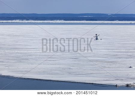 Snowman on the Lake Superior in Duluth. Duluth Minnesota USA.