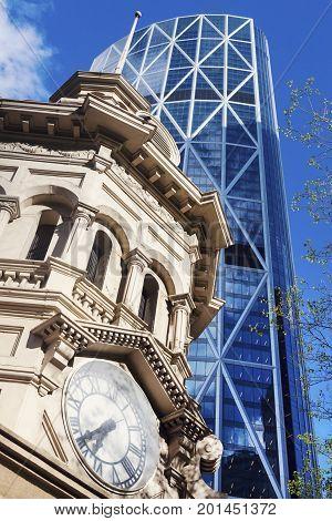 Clock tower in Calgary. Calgary Alberta Canada.