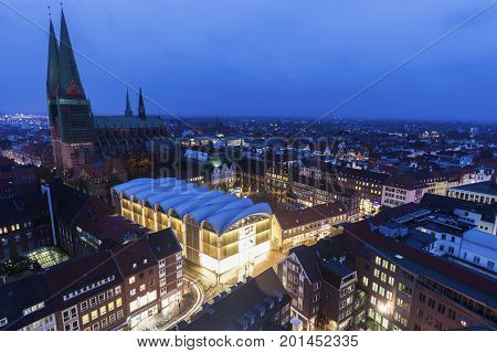 Lubeck aerial panorama at night. Lubeck Schleswig-Holstein Germany