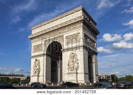 Arc de Triomphe in Paris. Paris France.