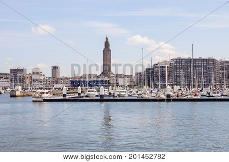 Panorama of Le Havre with St Joseph's Church. Le Havre Normandy France