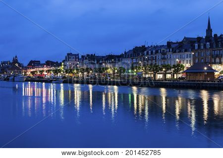 Panorama of Trouville-sur-Mer at night. Trouville-sur-Mer Normandy France.