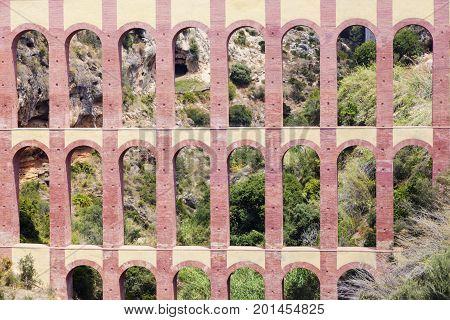 Aguila Aqueduct in Spain. Nerja Andalusia Spain.