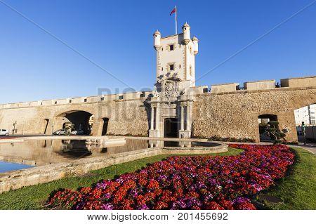 Puerta de Tierra in Cadiz. Cadiz Andalusia Spain.