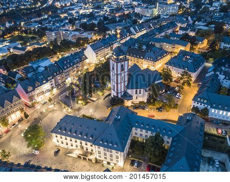 Aerial view over the old town of Siegen at dusk. North Rhine-Westphalia Germany