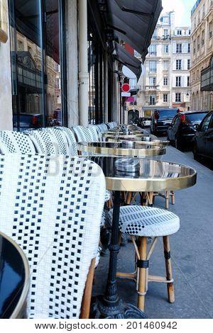 Modern outdoor cafe on sidewalk