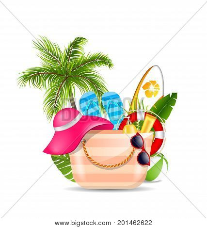 Female Bag with Beach Accessories. Set of Travel Design Elements for Voyage - Illustration Vector