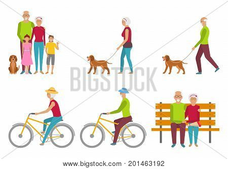 Happy Grandparents. Elderly Couple. Pension Liasure. Retirement - Illustration Vector