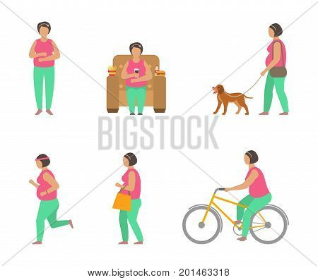 Combating Obesity Through Sports. Fat Woman Walking Dog, Bicycling, Jogging - Illustration Vector