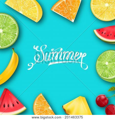 Pineapple, Watermelon, Banana, Cherry, Orange, Lemon, Lime  Summer Frame with Tropical Fruits and Berries - Illustration Vector
