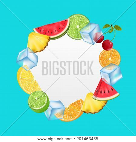 Round Fruit Frame with Ice Cubes, Pineapple, Watermelon, Cherry, Orange, Lemon, Lime Summer Card - Illustration Vector