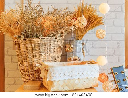 Home decoration dried grass dry flower in utensil ware white indy home cafe decoration hipster style. Cosy and soft winter background