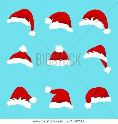 Set Santa Hats Isolated on Blue Background, Collection Different Christmas Caps - Illustration Vector