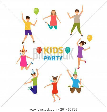 Kids Party, Funny Girls and Boys Jumping. Ghildhood Isolated - Illustration Vector