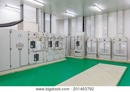Electrical energy distribution substation in a new factory plant Industrial electrical switch panel