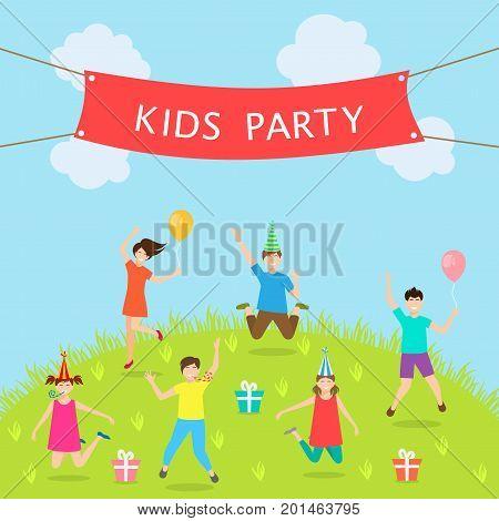 Children Have Fun Party. Leisure and Entertainment. Amusement Park. Active Kids Jumping - Illustration Vector