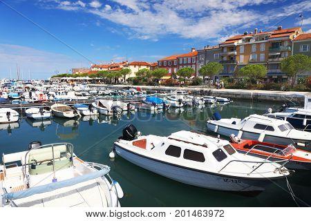 ISOLA, SLOVENIA - AUGUST 14, 2017: Boats in the Isola marina resort, Slovenia, Europe