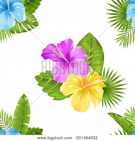 Seamless Floral Pattern with Hibiscus Flowers and exotic Plants. Fashion Textile. Beautiful Texture - Illustration Vector