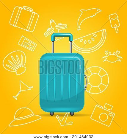 Realistic Polycarbonate Suitcase, Baggage for Tourism, on Yellow Background with Summer Elements - Illustration Vector