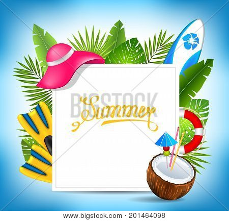Tropical Exotic Design Card with Beach Accessories, Summer Time Template - Illustration Vector
