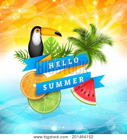 Summer Poster Design with Parrot Toucan, Slices of Watermelon, Orange and Lime, Palm Tree Leaves. Ribbon Banner Hello Summer - Illustration Vector