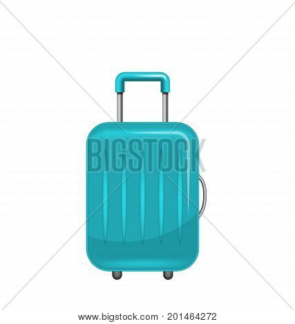Realistic Polycarbonate Suitcase, Baggage for Tourism, Isolated on White Background - Illustration Vector