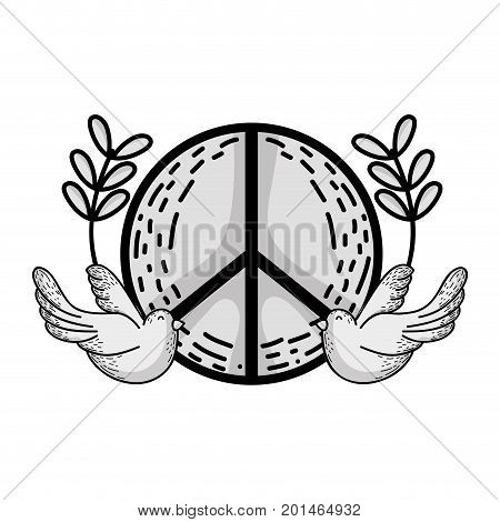 line hippie emblem with doves and branches design vector illustration
