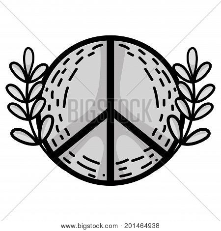line hippie emblem and branches with leaves design vector illustration