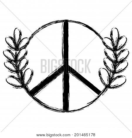 figure hippie emblem and branches with leaves design vector illustration