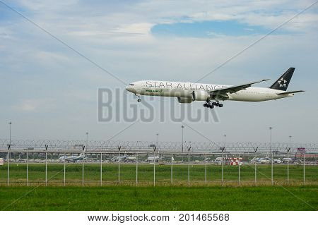 Bangkok Thailand - July 30 2017: Star Alliance(EVA Air) Plane landing to runways at Suvarnabhumi international airport in Bangkok Thailand. This airport is one of the most populated airports in the world.