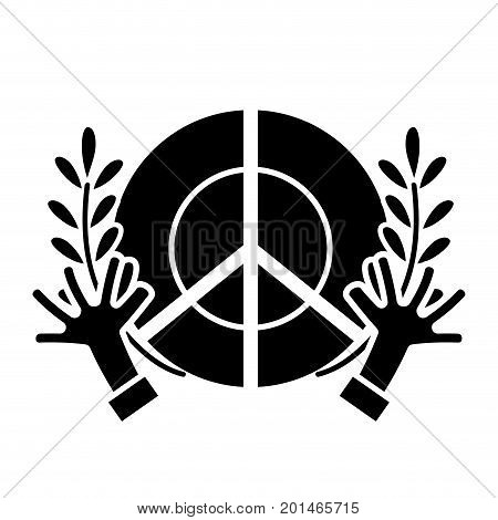 contour hippie emblem with hands and branches design vector illustration