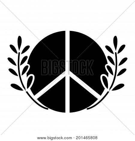 contour hippie emblem and branches with leaves design vector illustration